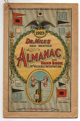 1923  DR. MILES New WeatherALMANAC & Hand Book Anti-Pain Pills, Health, Medicine