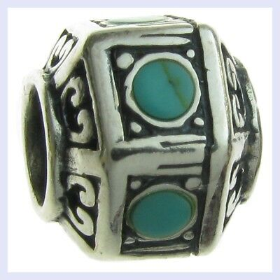 925 Sterling Silver Hexagon with Turquoise Dots Bead for European Charm Bracelet