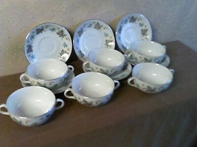 Ridgway White Mist Soup Cups & Saucers X 6