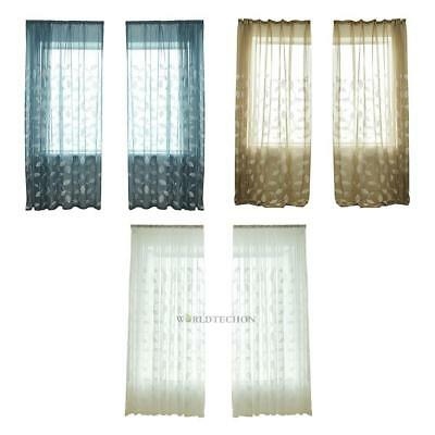 Home Floral Tulle Voile Window Curtain Drape Panel Sheer Door Scarves Valances
