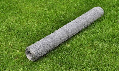 vidaXL Hexagonal Wire Netting 1x25m Galvanised Thickness 0.75mm Silver Fence