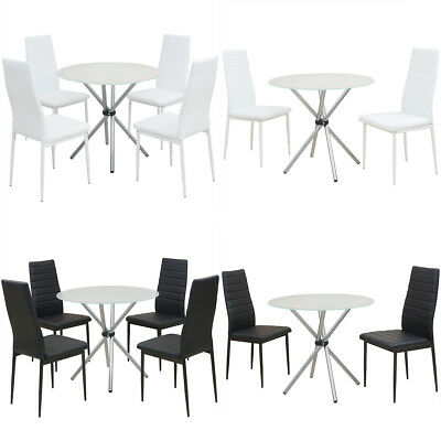 Dining Suite Round Glass Table 4 Black/White Padded Leather Chairs Furniture