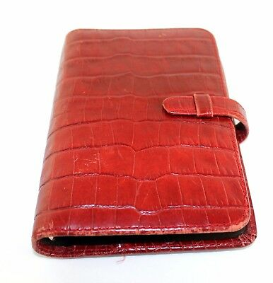 Auth COACH Red crocodile Embosed Leather Planner Diary Organizer Address Book