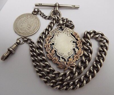 Beautiful Heavy English Antique 1904 Solid Sterling Silver Albert Chain & Medal
