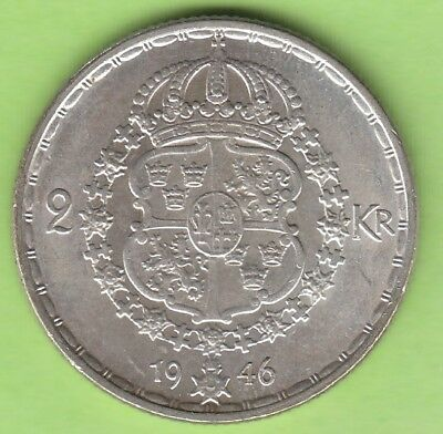 Sweden 2 Kronor 1946 Silver good better than xf leipzig