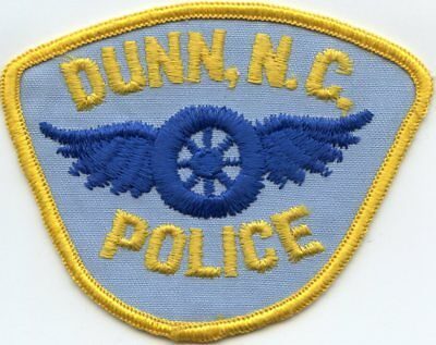 old vintage DUNN NORTH CAROLINA NC motorcycle wheel with wings POLICE PATCH