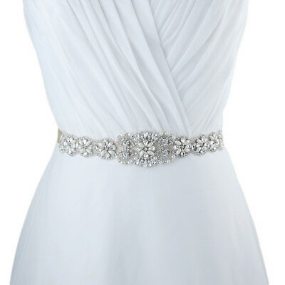 Vintage Crystal Pearls Floral Applique Sash Wedding Bridal Dress Sash Belt