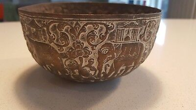 Antique / vintage brass bowl elephant design