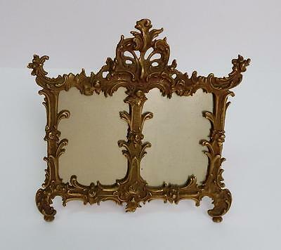 19th C. Antique Victorian French Rococo Bronze Easel Back Double Picture Frame