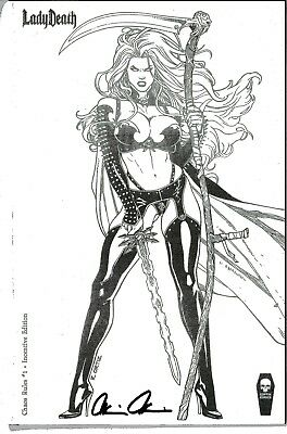 Lady Death Chaos Rules 1 INCENTIVE edition signed Brian Pulido COA FREE UK POST
