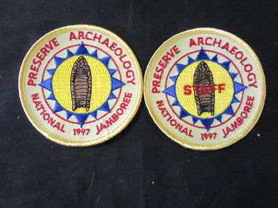 1997 National Jamboree Preserve Archaeology Staff & Scout Patches   c1