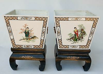 Vintage Pair of Chinese Wood inlay Planters Jardiniere1940's on Stands