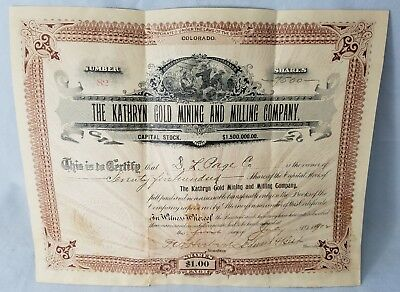 Colorado Kathryn Gold Mining And Milling Company Stock Certificate 1896