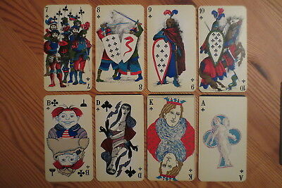 Altes Künstler Kartenspiel bes Bild Comic Antique German Playing cards