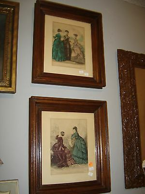 Antique Pair Walnut Shadow Box Frames with Lithograph French Prints: 8113