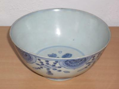 A Good Chinese Ming Porcelain Blue & White 18Cm Bowl, 16Th/17Th C., Hairline