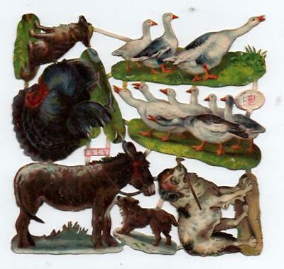 Victorian Die Cut Relief Scrap Sheet. Farmyard Animals. Pub'd Raphael Tuck #474