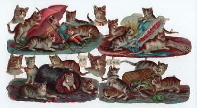 Victorian Die Cut Relief Scrap Sheet. Playful Cats & kittens. Pub'd A.M. #646