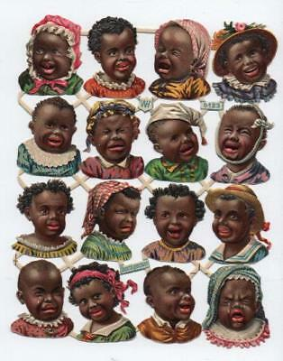 Victorian Die Cut Relief Scrap Sheet. Negro children. Pub'd W. Hagelberg #5123