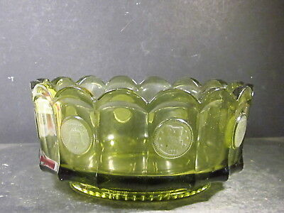"""Vintage Olive Green Fostoria COIN FOOTED BOWL 7 1/4"""""""