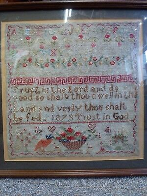 Tapestry Alphabet Sampler 138 years old dated 1879 Antique Vintage stitched