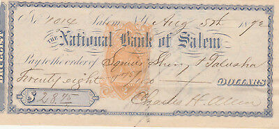 1872 THE NATIONAL BANK of SALEM, NEW YORK    W/REVENUE