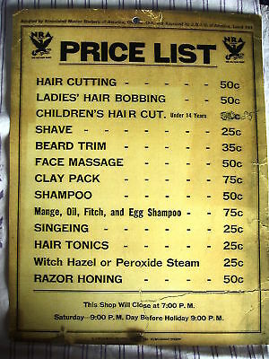 Vintage 1930's Union Barbershop Price List 50 Cent Cut