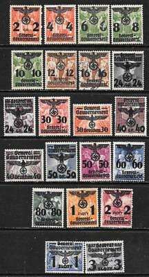 POLAND - German Occ - Polish Stamps Opt'd/Surch'd - Set of 21 - Mainly MH