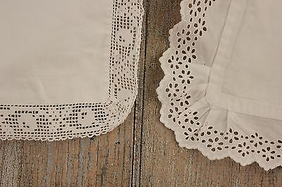 2 Vintage French pillowcases pillow slips lace edges TWO Euroshams