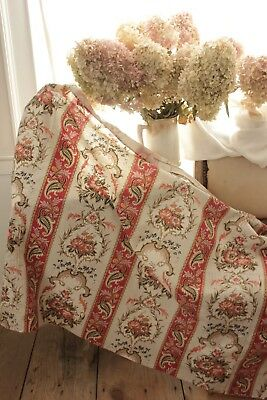 antique French material with beautiful large scale design fabric material old