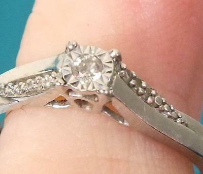 1.5g Fine 9ct Solid White Gold Solitaire Diamond Ring - UK Size I to J