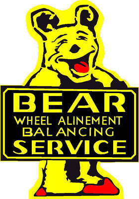 "Bear Alinement Balancing Metal Large Yellow 25.5"" Steel Sign Vintage Garage Tall"