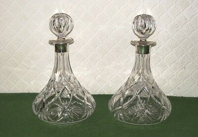 Matching Pair  Quality Cut Glass Ships Decanters With Silver Hallmarked Collars