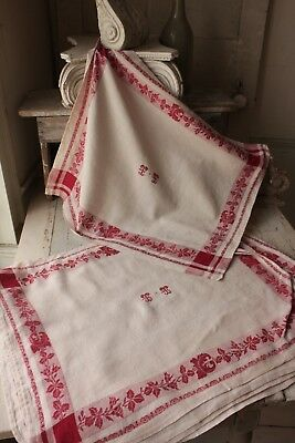 Damask linen napkin SET 12 TT  monogrammed linen  27-23 c1920 white old red