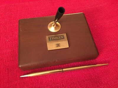 Vintage Brass TIMKEN X Ten Year Award Wood Desk Paperweight W/ Gold Tone Pen