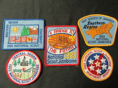 1993 National Jamboree Pocket Patch and 4 Region Patches     c2