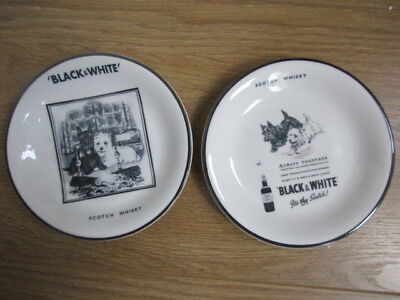 Two Unusual Black And White Scotch Whisky Sweet/nut Trays Unused
