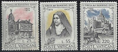 1973 Vatican Set 3 Centenary of the birth of St. Therese of the Child Jesus MNH