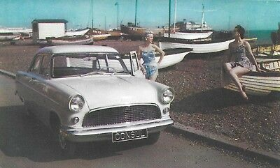 postcard 1956 Ford Consul Ladies in fashionable summer wear printed in England