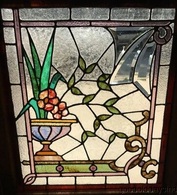 """Antique Victorian Style Stained Leaded Glass Window w/ Bevels & Jewels 33"""" x 29"""""""