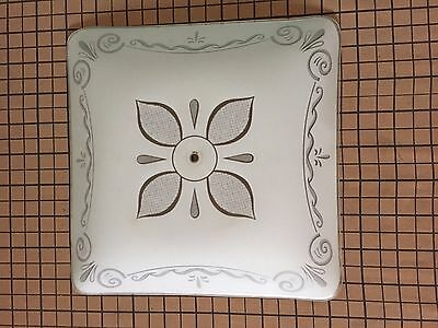 """Vintage Large Square Ceiling Light Shade Retro Scroll work White 17"""""""