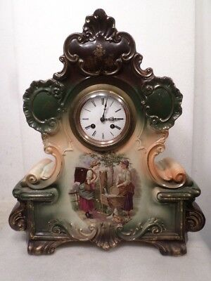 "French Japy Freres Large 18"" Striking Porcelain Clock"