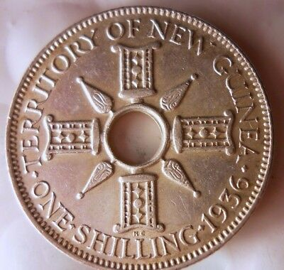1936 NEW GUINEA SHILLING - Beautiful Ornate Silver Coin - AU Scarce - Lot #D5