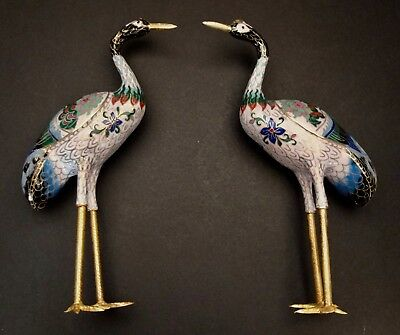 """Pair Of Vintage Chinese Cloisonne Standing Crane Or Bird Figurines 9"""" Tall"""