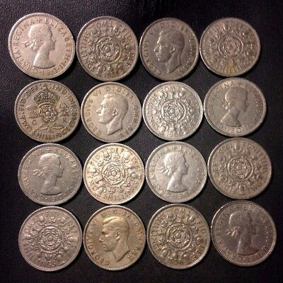 Vintage Great Britain Coin Lot - 16 EXCELLENT FLORINS - Lot #D5