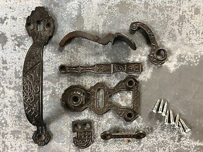 Vintage cast iron ornate Victorian thumb latch door handle complete 7 piece set