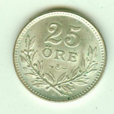 Sweden Silver Uncirculated 1930 25 Ore-Lot F1