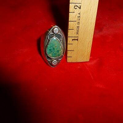 """Large Ca 1920 Native American Navajo Indian 1 3/8 """" Turquoise Stone Silver Ring"""