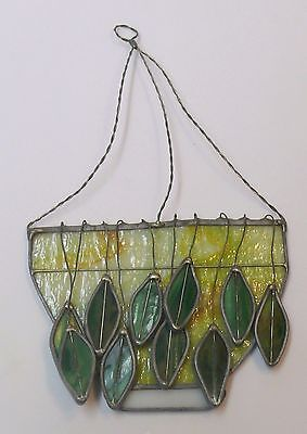 VINTAGE STAIN GLASS LEAD SUN CATCHERS > LARGE BOWL w/HANGING LEAVES