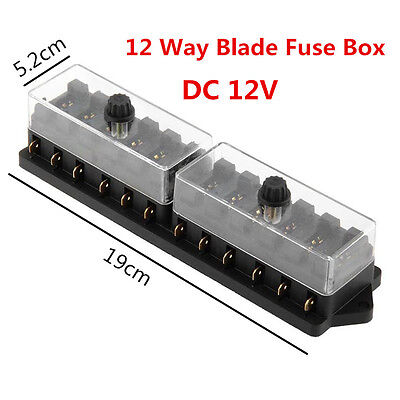 Universal 12 Way DC12V Standard Blade Block Fuse Box Holder Circuit For Car Boat